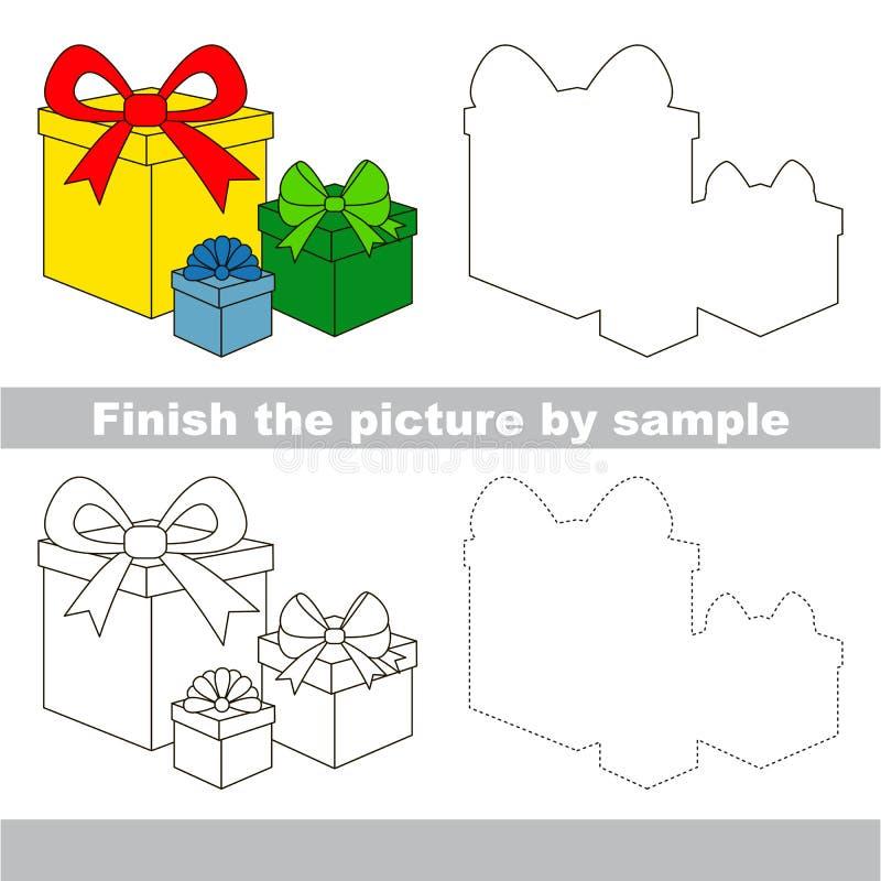 Regalos Hoja de trabajo del dibujo ilustración del vector