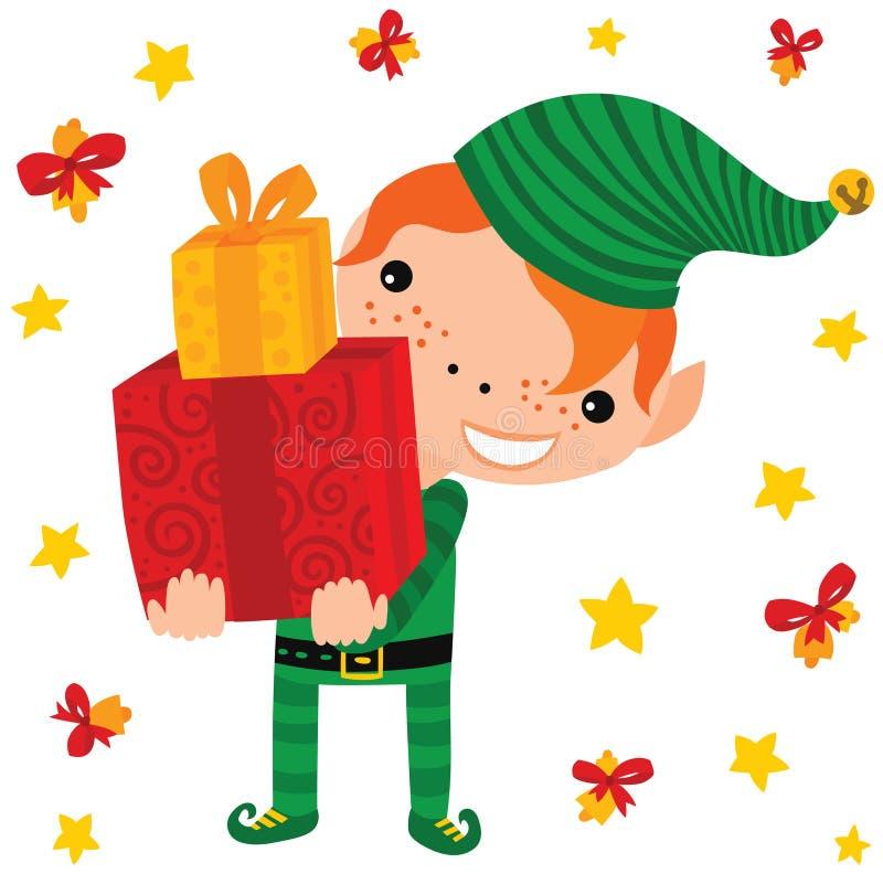 Regalos que llevan del duende de la Navidad ilustración del vector