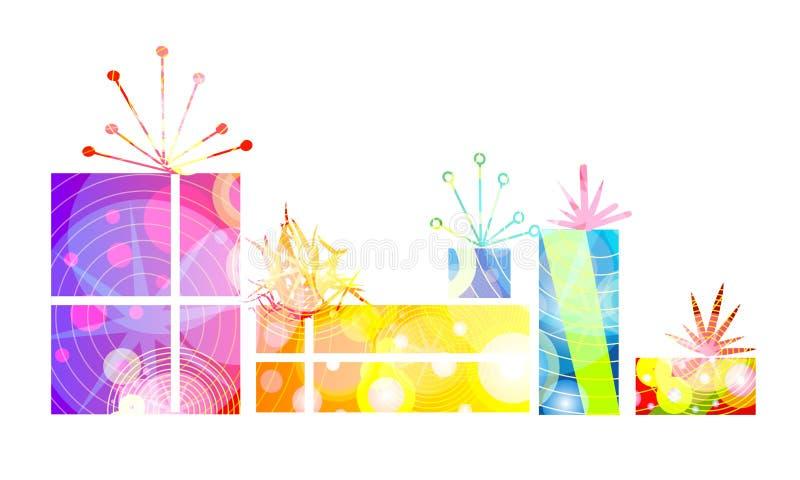 Regalos retros de los regalos de Navidad stock de ilustración