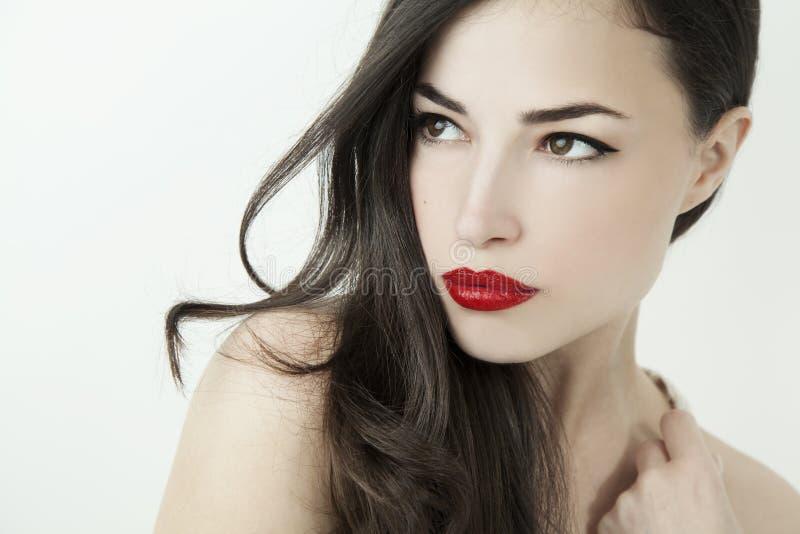 Regard élégant avec les lèvres rouges photos libres de droits