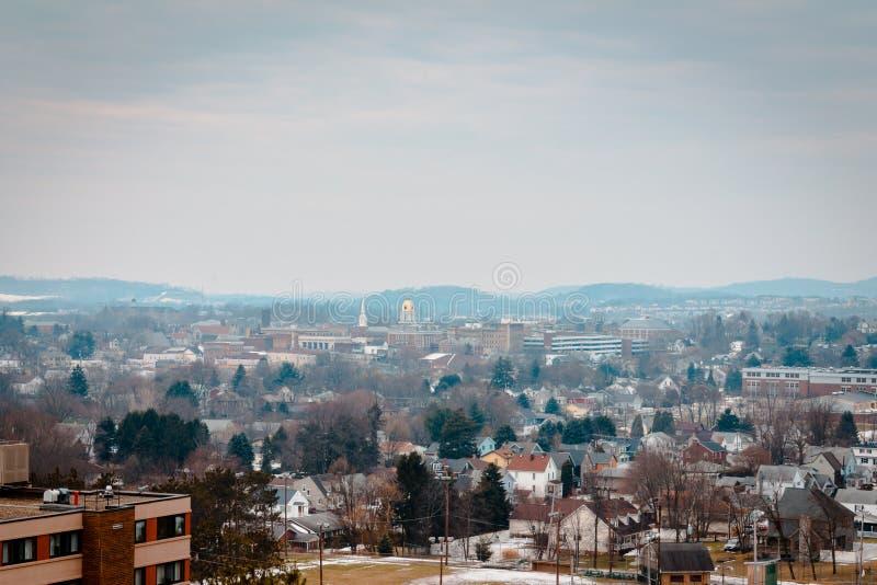 Regard au-dessus d'Indiana Pennsylvania pendant un matin d'hiver photographie stock libre de droits