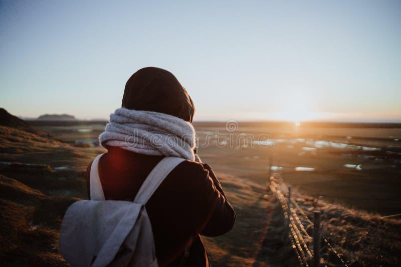 Regard au-dessus d'un paysage en Islande images stock