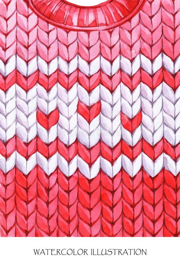 Regard chaud d'usage Veste de tricotage peinte à la main illustration stock