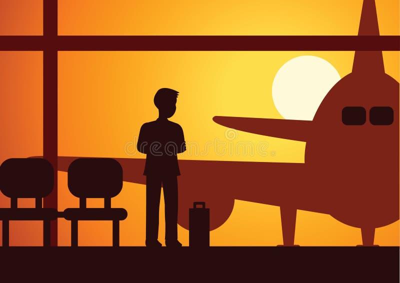 Regard d'homme d'affaires à l'attente plate à monter dans l'avion pour établir le busi illustration stock