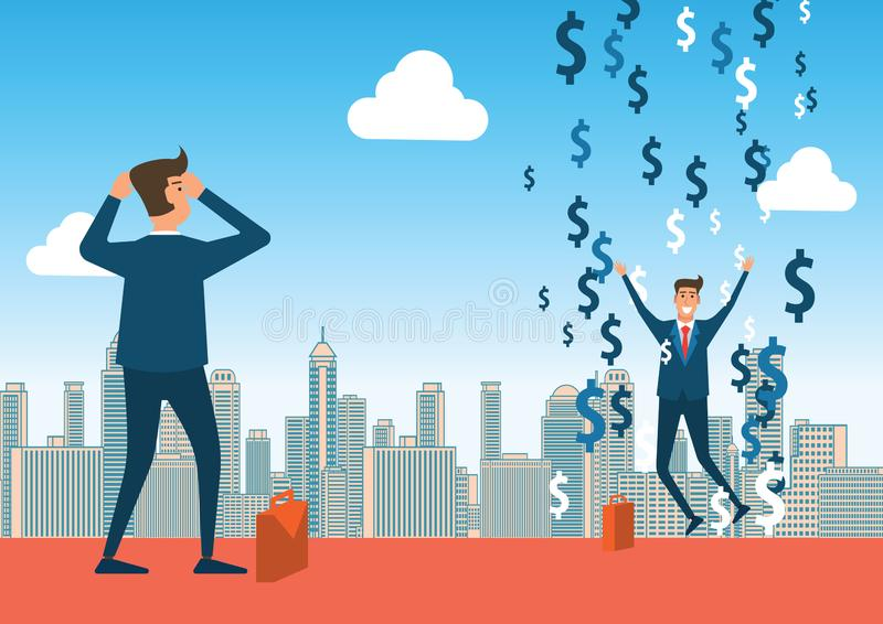 Regard d'homme d'affaires d'échouer au succès un la pluie de symbole dollar signifie des riches illustration de vecteur
