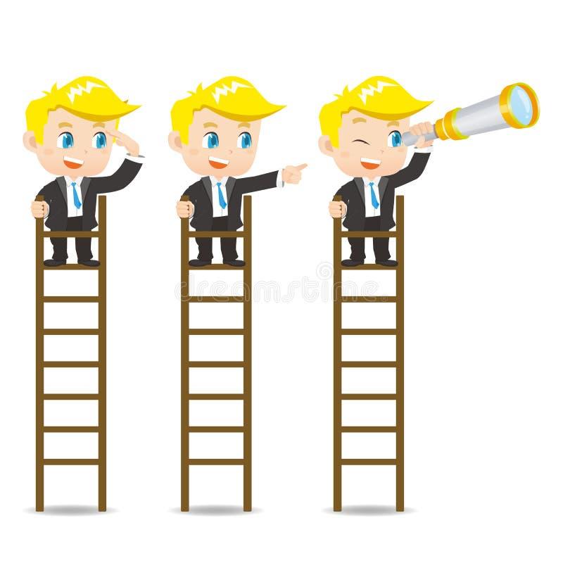 Regard d'homme d'affaires sur l'échelle illustration de vecteur