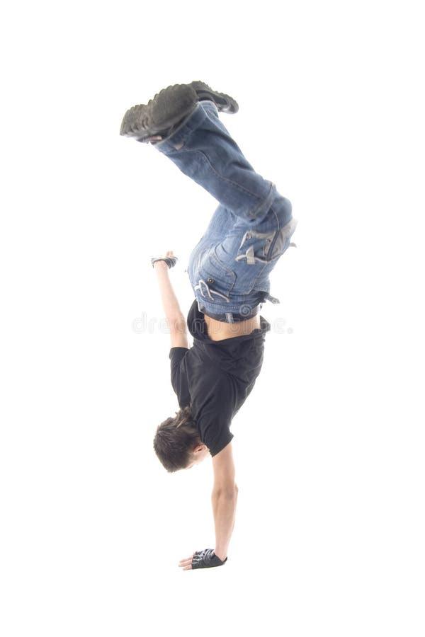 regard d'isolement frais de breakdancer de fond photos libres de droits