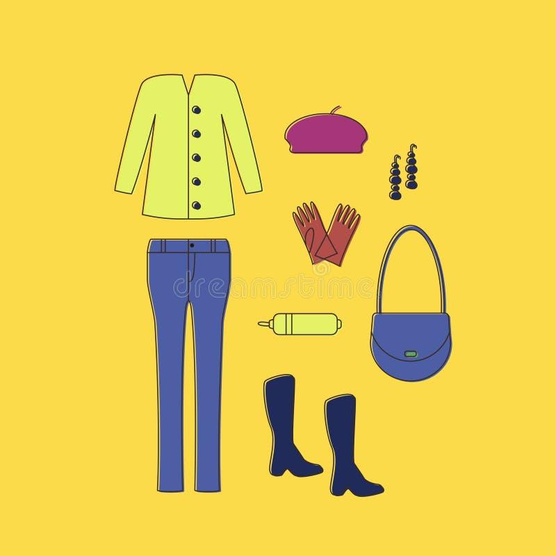 regard Ensemble d'icônes linéaires de vêtements et d'accessoires illustration libre de droits