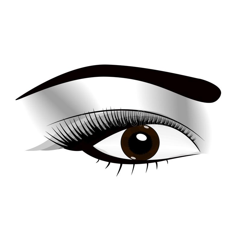 Regard frais de maquillage de femme avec les sourcils parfaitement parfaitement formés et les pleines mèches supplémentaires Idée illustration de vecteur