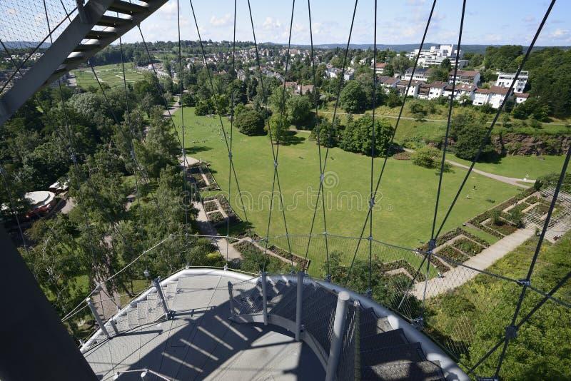Regardant de la tour de stationnement, Stuttgart image stock