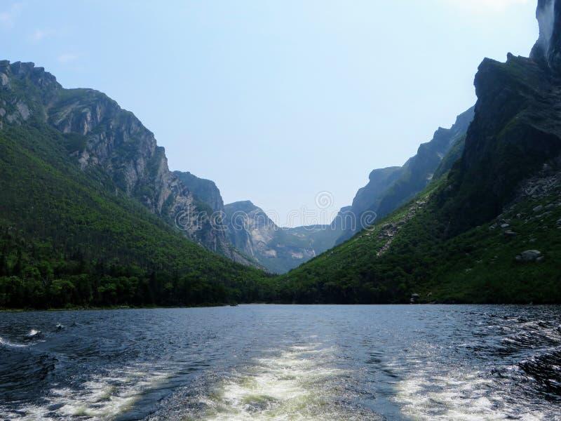 Regardant de retour du bateau de visite l'extrémité du fjord de l'étang occidental de ruisseau à Gros Morne National Park, Terre- image libre de droits