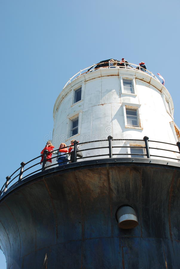 Regardant le port du phare de refuge, Lewes, plaque du Delaware images libres de droits