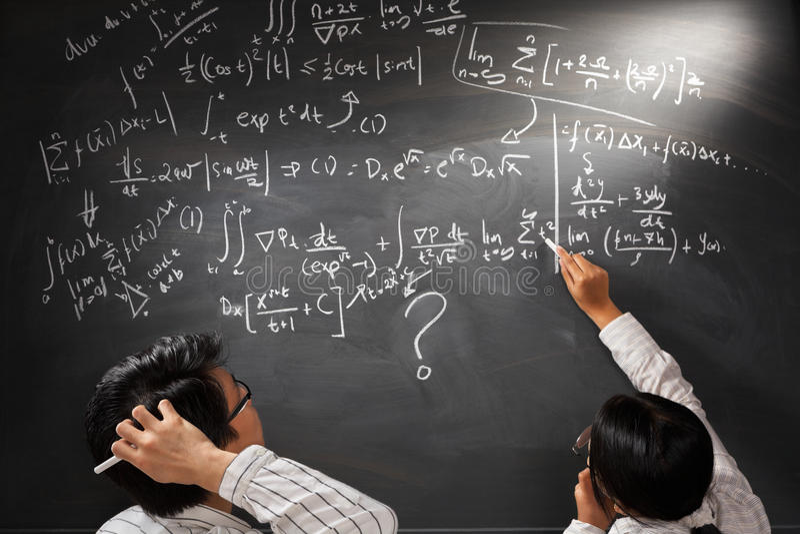 Regarder l'équation complexe difficile image libre de droits