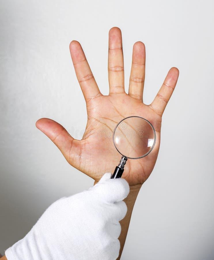 Regarder les lignes sur la main par une loupe image libre de droits