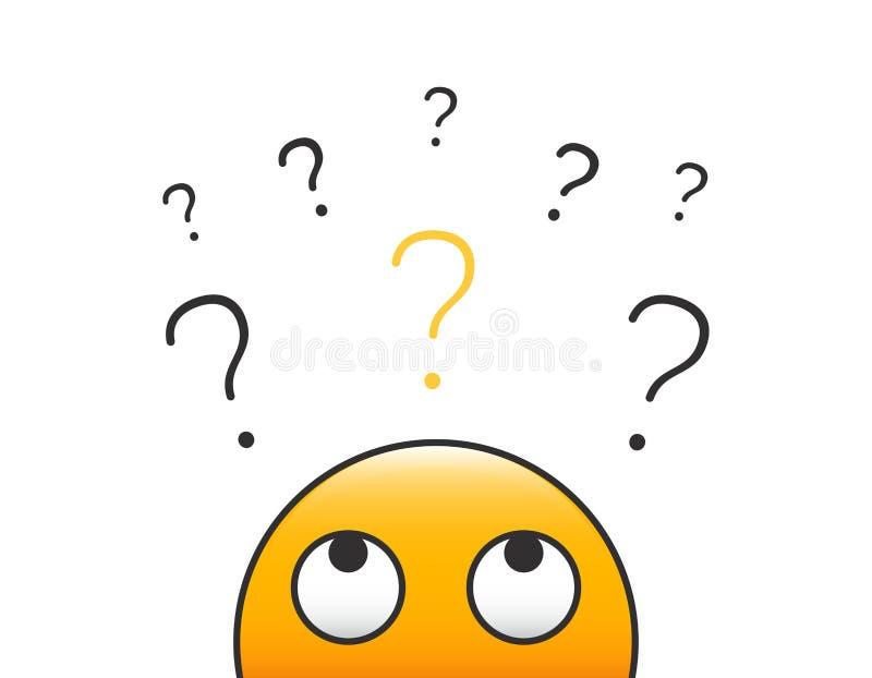 Regarder principal de personne de caractère d'émoticône une pile de points d'interrogation Conception d'illustration de vecteur a illustration libre de droits