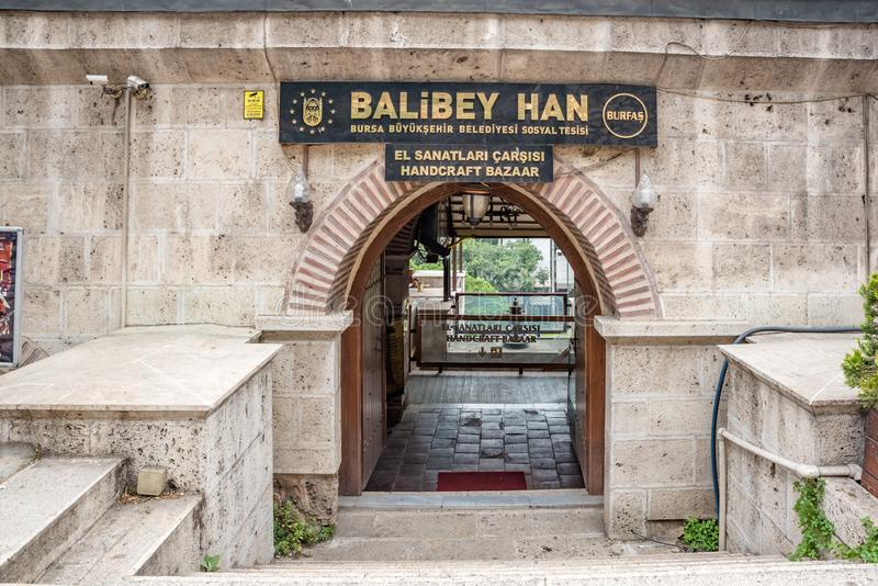 Regardez de Balibey Han ou handcraft le bazar à Brousse, Turquie images stock
