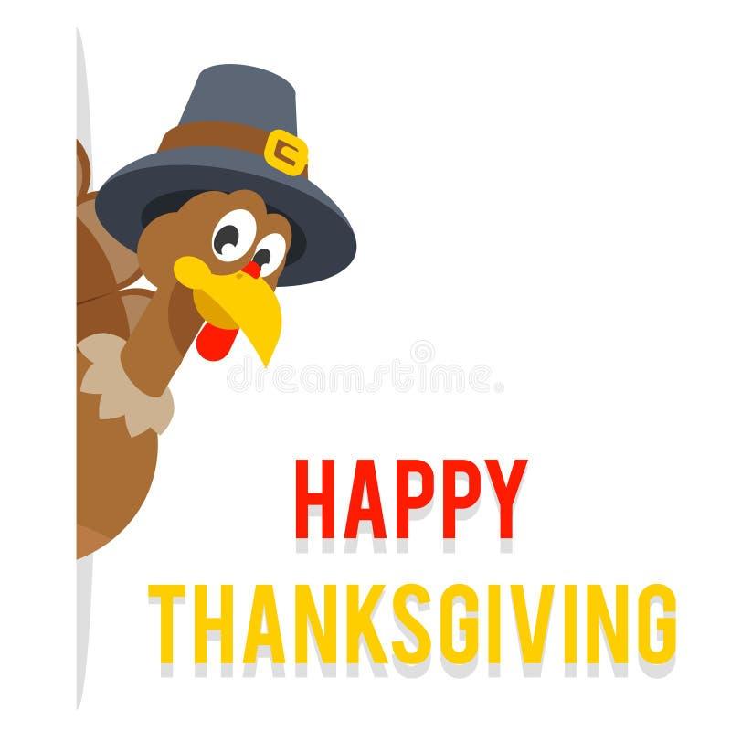 Regardez hors de la dinde faisante le coin de thanksgiving dans l'illustration plate de vecteur de conception de chapeau de pèler illustration de vecteur