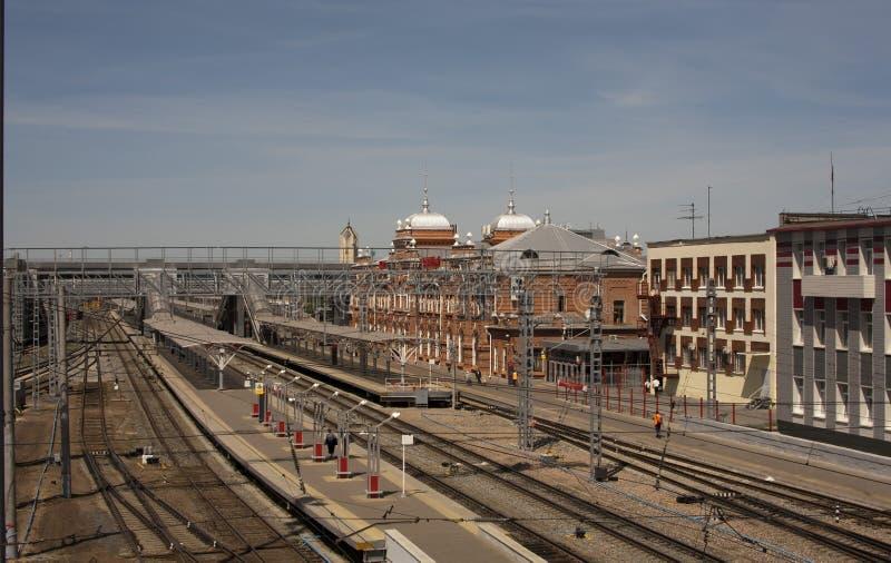 Regardez la station de train dans la ville de Kazan Russie image libre de droits
