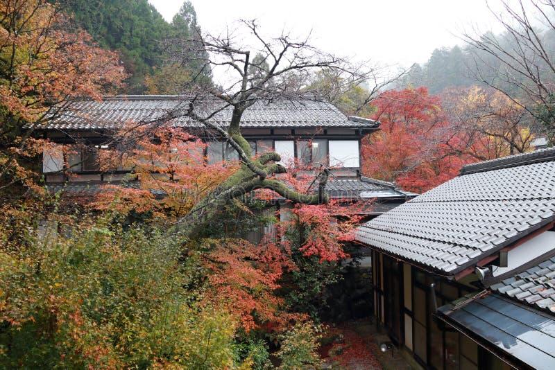 Regardez le paysage de la maison et de la forêt parmi la gamme de montagne photographie stock