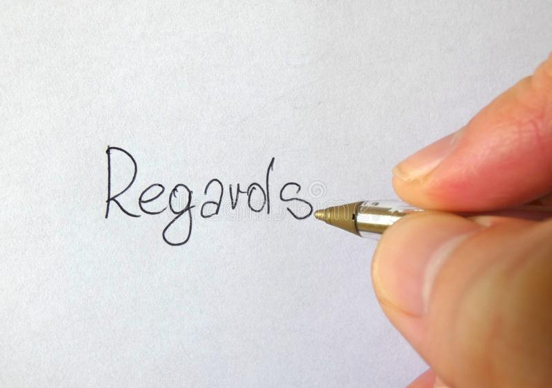 Regards Writing Hand stock image