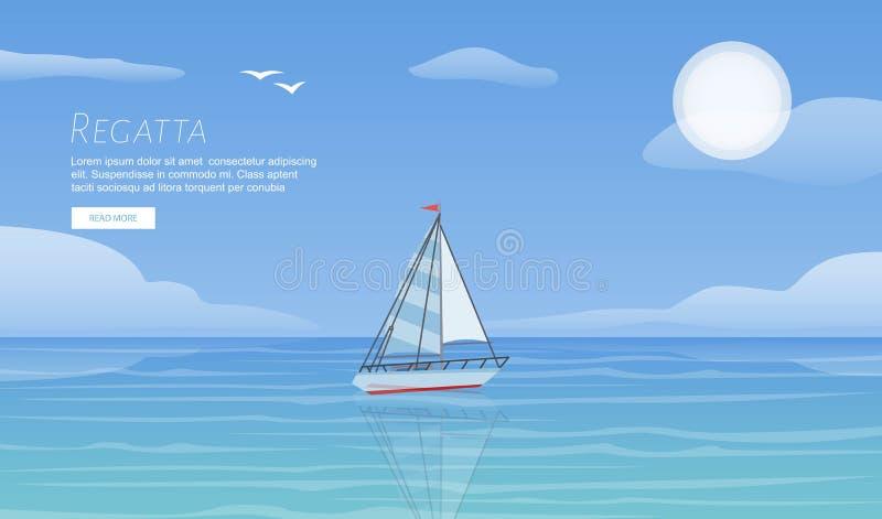 Regatta γιοτ ωκεάνιο διανυσματικό πρότυπο θάλασσας κυμάτων στο μπλε Ιστιοπλοϊκό υπόβαθρο περιπέτειας αθλητικού ταξιδιού θερινών δ απεικόνιση αποθεμάτων