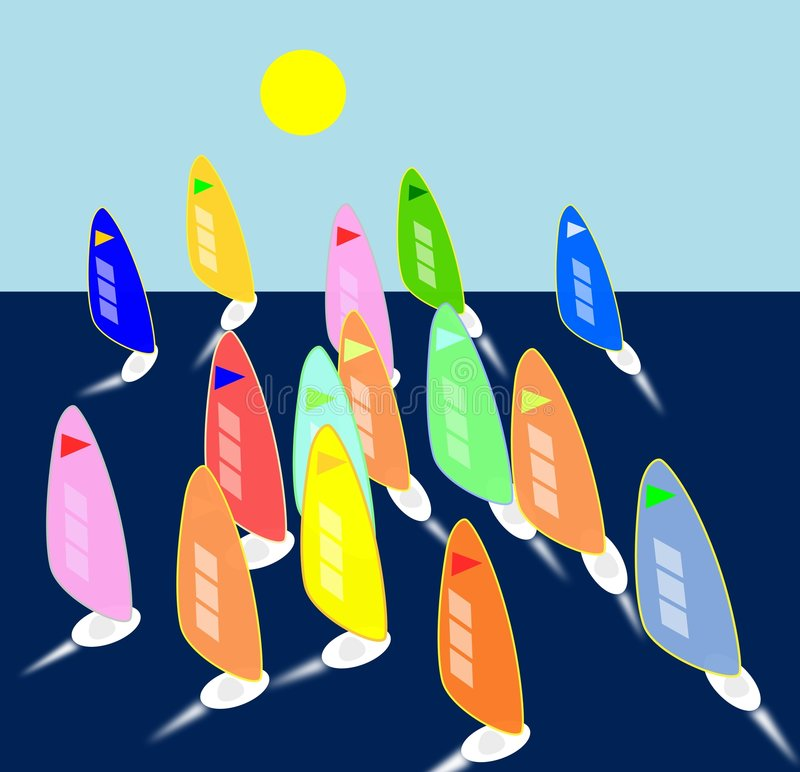 Regatta. Many sails in a competition royalty free illustration