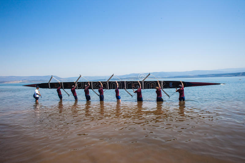 Regatta Eights Lifting Canoe Water Editorial Photo