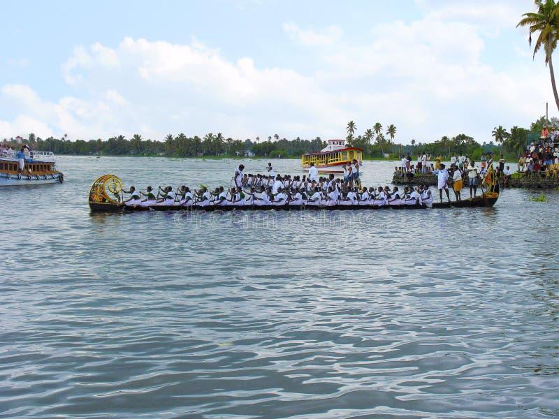 Regatta in Kerala Punnamada See stockfoto