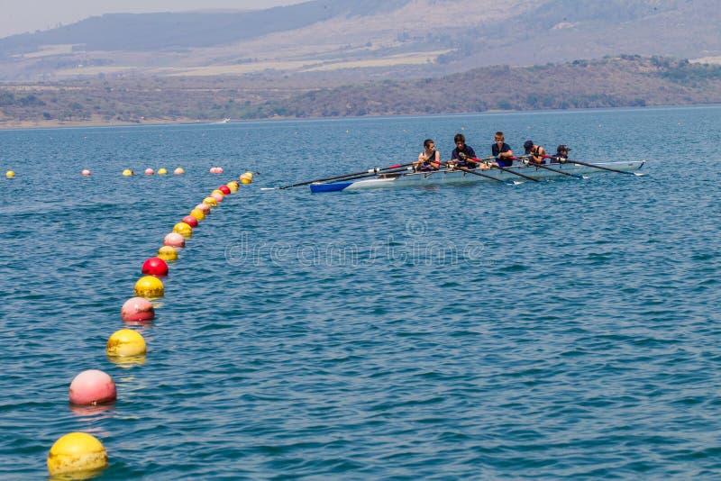 Regatta Team Fours Lane Bouys Waters Editorial Photo