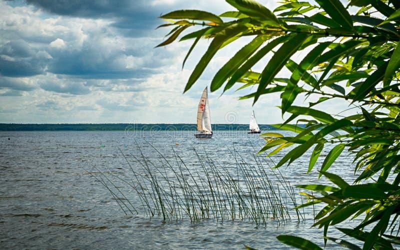 Regattas Racing at the lake. Regattas Race at belarussian Braslaw lakes royalty free stock photo