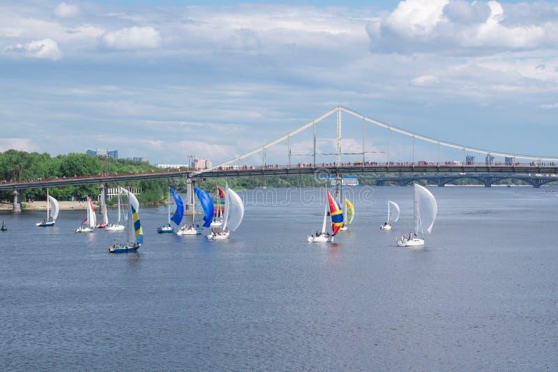 Regattawettbewerb von Flusssegeljachtbooten mit den weißen und mehrfarbigen Segeln, reflektierte Himmelwolken im Wasser lizenzfreie stockfotografie