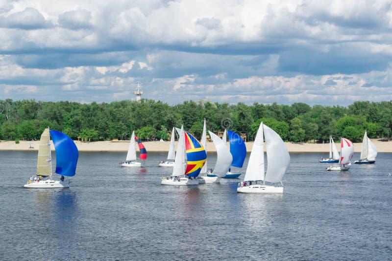 Regattawettbewerb von Seefluss-Segeljachtbooten mit weißen Segeln und gennakers, reflektierte Himmelwolken im Wasser stockfoto