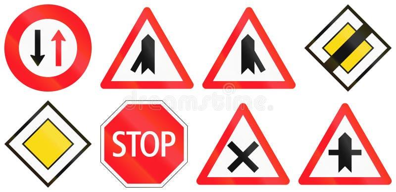 Regelgevende die verkeersteken in Zwitserland worden gebruikt stock illustratie