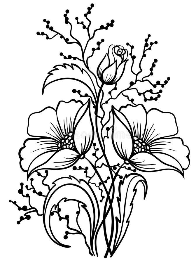 Regeling van zwart-witte bloemen. De tekening van het overzicht stock illustratie