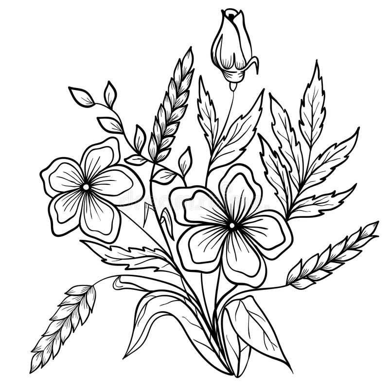 Regeling van zwart-witte bloemen. De tekening van het overzicht vector illustratie