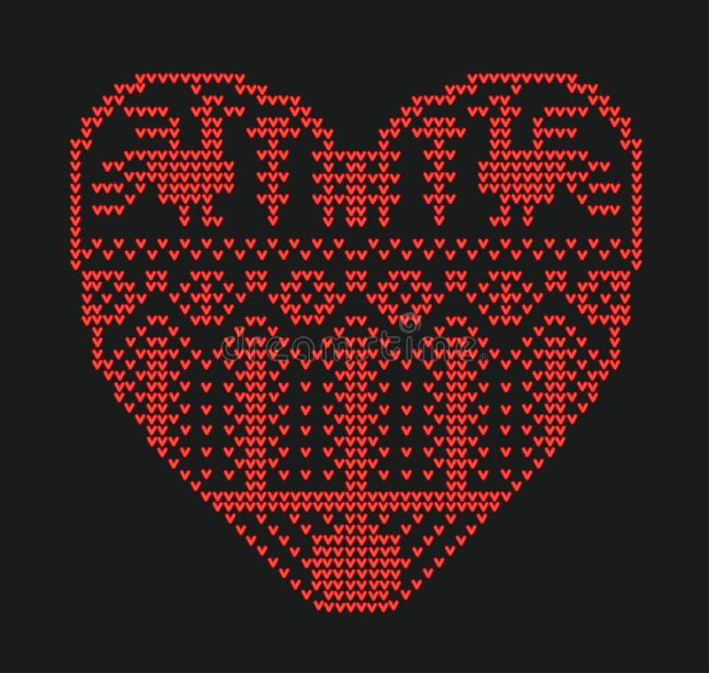 Regeling voor het breien, geometrisch malplaatje met gestileerd hart in landelijke stijl Vectorbeeldverhaal voor borduurwerk, het royalty-vrije illustratie