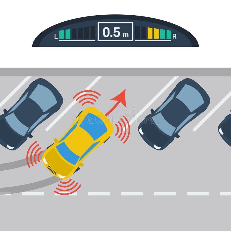 Regelings diagonaal parkeren met parktronic systeem stock illustratie