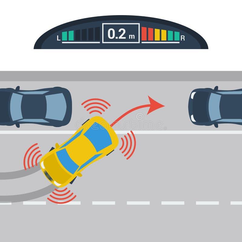 Regelings horizontaal parkeren met parktronic systeem royalty-vrije illustratie