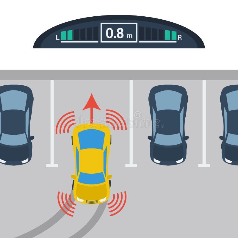 Regelings verticaal parkeren met parktronic systeem stock illustratie