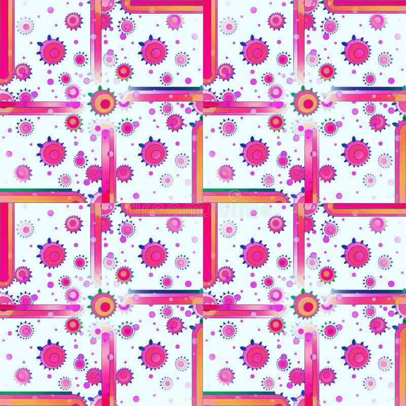 Regelmäßige Quadrate und konzentrische Kreise kopieren orange dunkelblaues Weiß des Rosas des weißen Veilchens stock abbildung