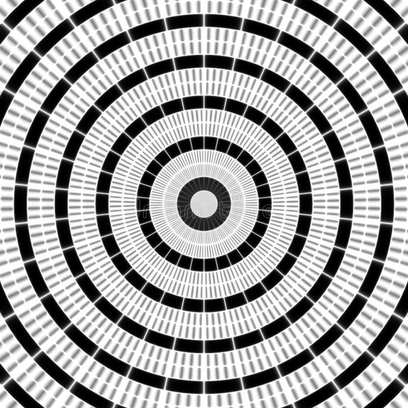 Regelmäßiges gekräuseltes Schwarzweiss-Muster radial ausgerichtet Halbtonlinie Ringillustration Abstrakter Fractal-Hintergrund lizenzfreie abbildung