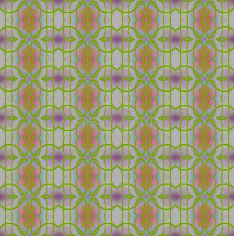 Regelmatig cirkels en diamantpatroon heldergroen met purple en roze royalty-vrije illustratie