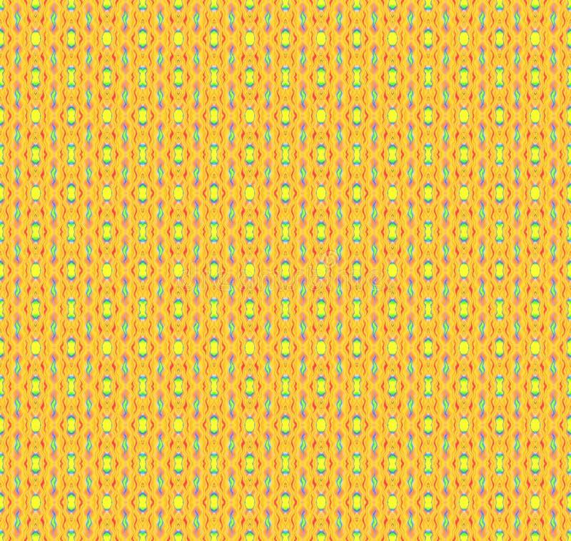 Regelmatig geel patroon met roze en blauwe elementen verticaal stock illustratie