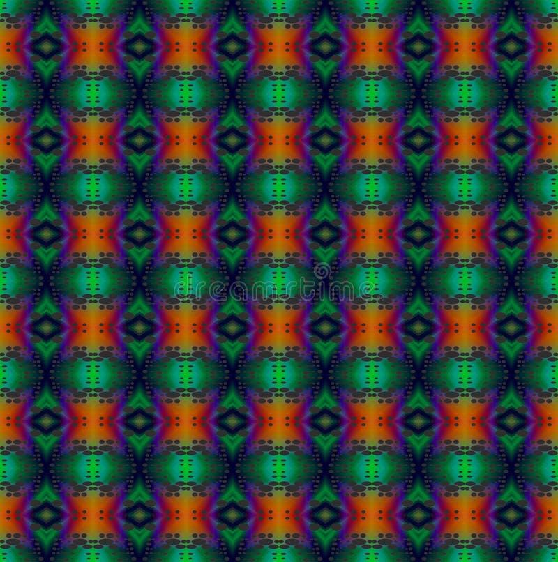 Regelmatig groen, oranje, rood diamantpatroon en purple verticaal vector illustratie