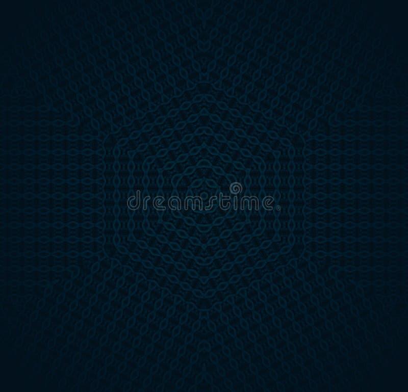 Regelmatig hexagon patroon donkerblauw met zwarte met ovale gecentreerde elementen royalty-vrije illustratie