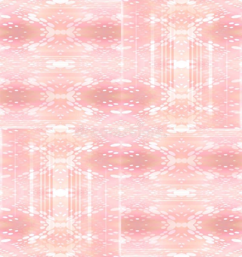 Regelmatig ingewikkeld ellipsen en strepenpatroonroze met gebroken wit en verplaatst lichtbruin vector illustratie