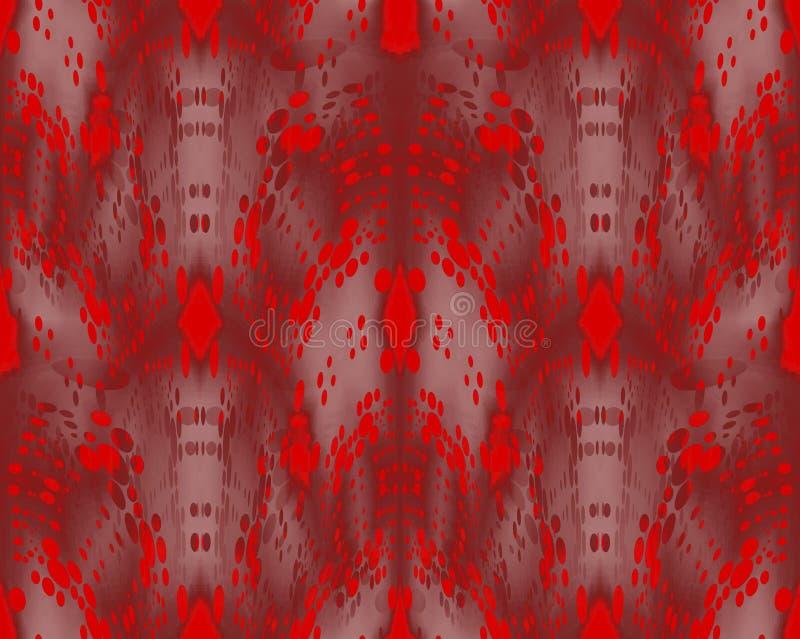 Regelmatig ingewikkeld rood ellipsenpatroon met beige en donkere bruine elementen drie-dimesnional vector illustratie