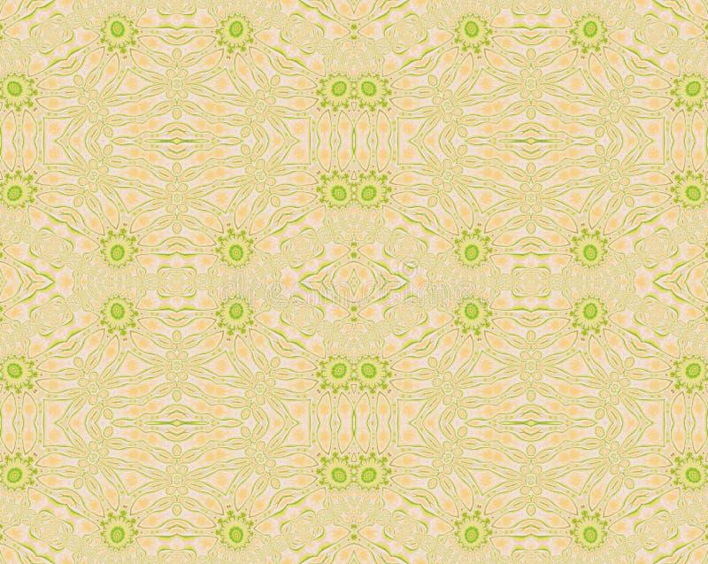 Regelmatig naadloos bloemen de kleurenbeige van de ornamenten heldergroen perzik vector illustratie