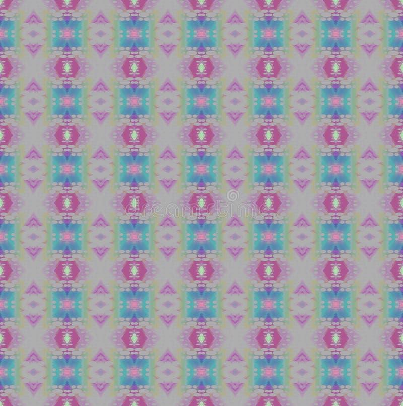 Regelmatig overladen diamant en van het vierkantenpatroon zilver grijs met violette, purpere en blauwe elementen royalty-vrije illustratie