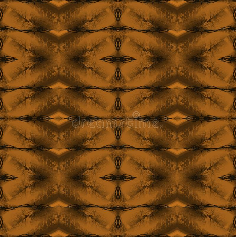 Regelmatig overladen gouden en bruin diamantpatroon stock illustratie
